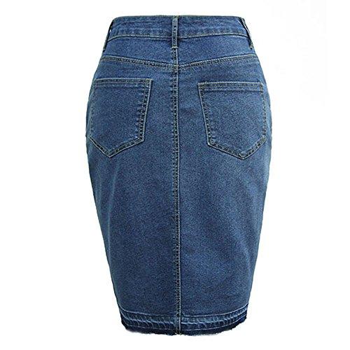 Ourlet Dlav laamei Jeans Haute Fonc Bleu Fendu Jean Jupe Femme en Jupe Taille Crayon Midi xqY0rHzq