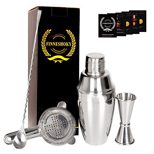 Martini Coktail Shaker Bartender Accessories Set - 17 oz Stainless Steel Home Bar Mixer Kit with Double Measuring Jigger,Mixing Spoon,Strainer,Recipe Booklet - Silver