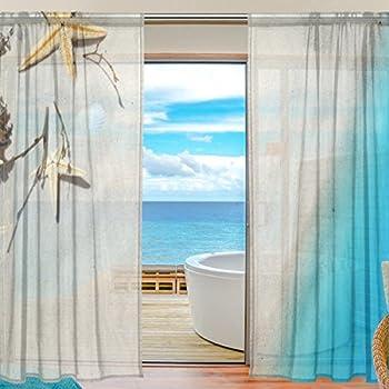 deyya 2 pcs window decoration sheer curtain starfish summer beach