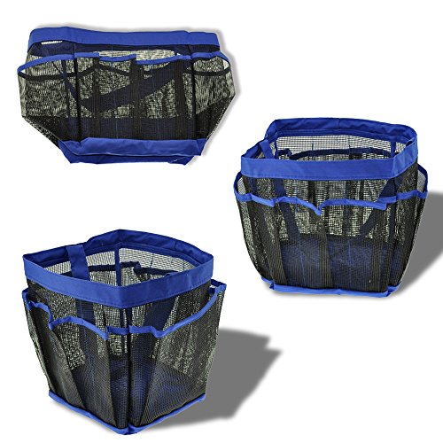 Portable Shower Caddy : Portable collapsible shower tote with pocket storage
