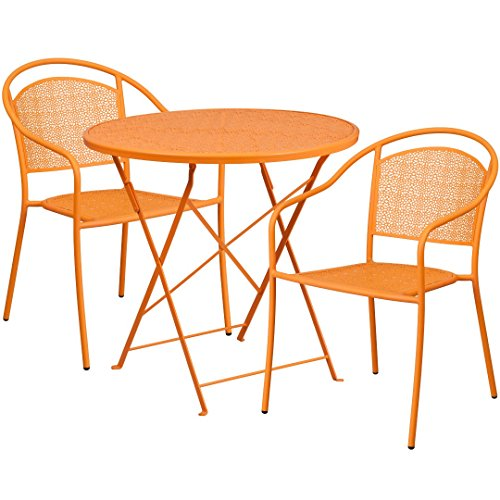 MFO 30'' Round Orange Indoor-Outdoor Steel Folding Patio Table Set with 2 Round Back Chairs
