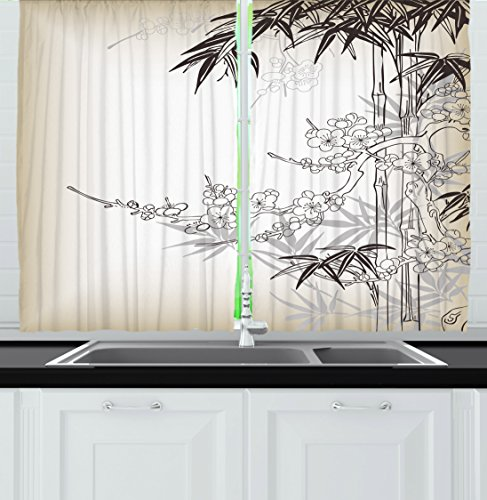 Ambesonne Kitchen Decor Collection Japanese Art Traditional Asian Style Bamboo And Sakura Tree Zen Design Window Curtains 2 Panels 55x39 Inches
