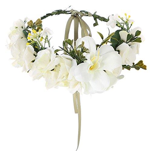 Felice Arts Handmade Boho Flower Headband Hair Wreath Halo Floral Garland Crown Headpiece with Adjustable Ribbon Festival Wedding Party, Cream