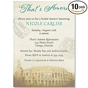 bridal shower invitations teal italy italian theme wedding shower vintage