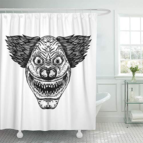 Semtomn Shower Curtain Black Joker Evil Scary Clown Monster Big Nose Shower Curtains Sets with 12 Hooks 60 x 72 Inches Waterproof Polyester Fabric ()