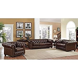 Coja Yuma Brown Leather Tufted Sofa, Loveseat and Chair Set