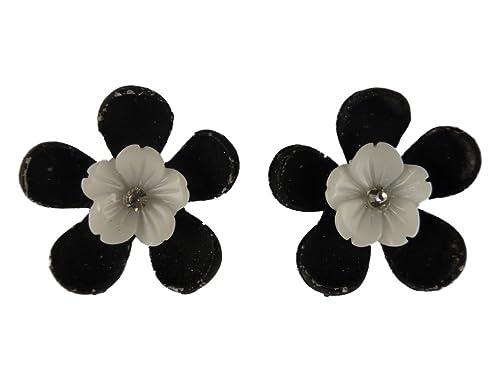 Ohrringe Ohrstecker Stecker Straß schwarz / weiße Blume Blüte ...