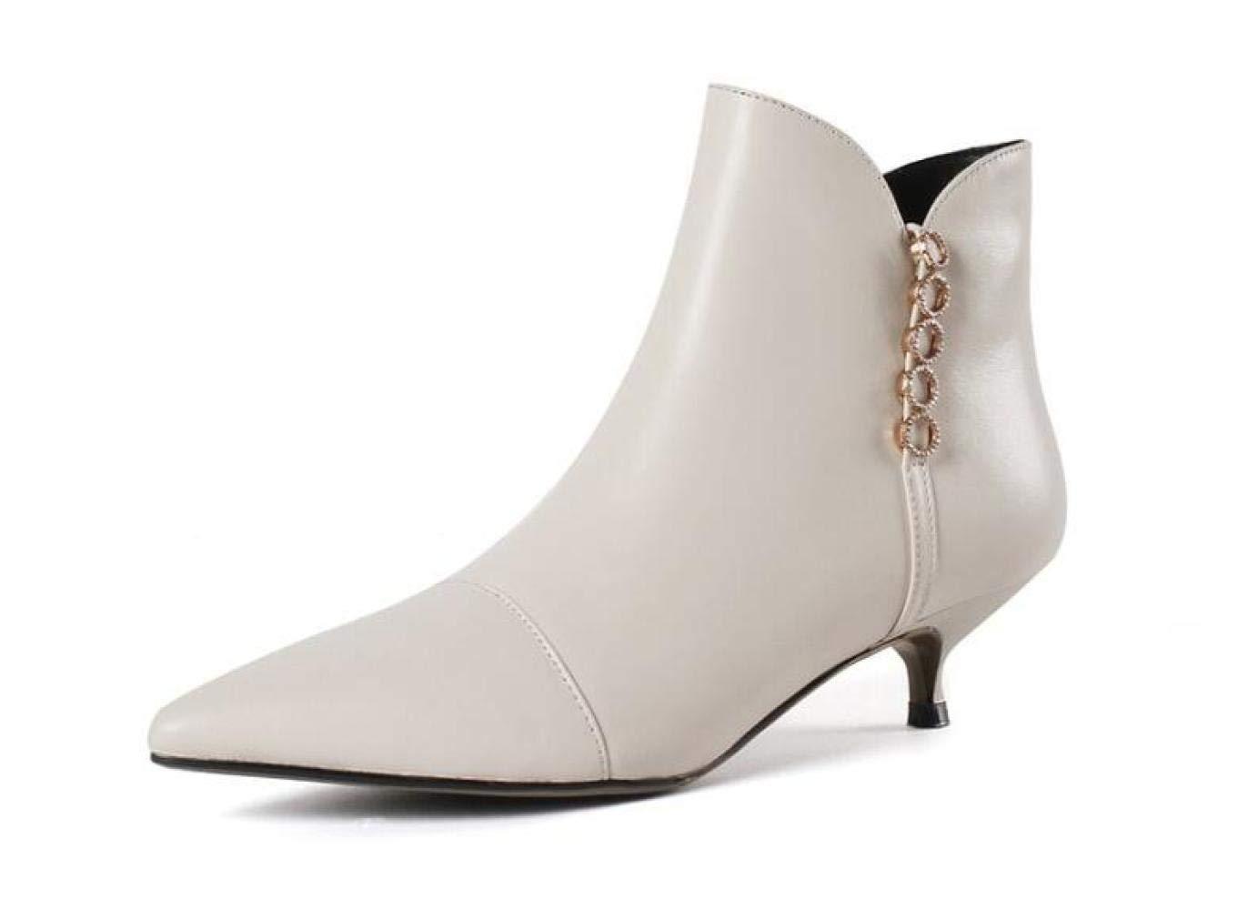 QINGMM Frauen Spitzen Metall Dekorative Stiefeletten 2018 Herbst Winter Mode Leder Partei Stiefel Neuheit Niedrige Ferse Schuhe