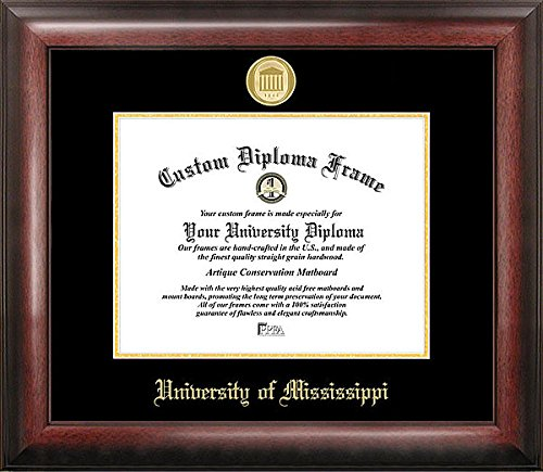University of Mississippi Embossed Gold Foil Seal Graduate Diploma Frame - 2017 Graduation Diploma Frame (Graduate Seals)