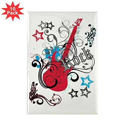 (Rectangle Magnet (10 Pack) Rock Guitar Music Notes Treble Clef)