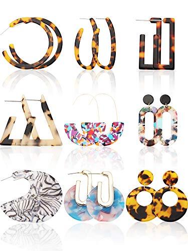 9 Pairs Acrylic Earrings Resin Statement Geometric Earring Shell Tortoise Hoop Bohemian Earrings Mottled Drop Dangle Earrings for Women ()