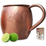 100% Pure Copper Moscow Mule Mug (16 oz Barrel) Premium Handcrafted Quality with No Inside Liner - Bonus Ebook
