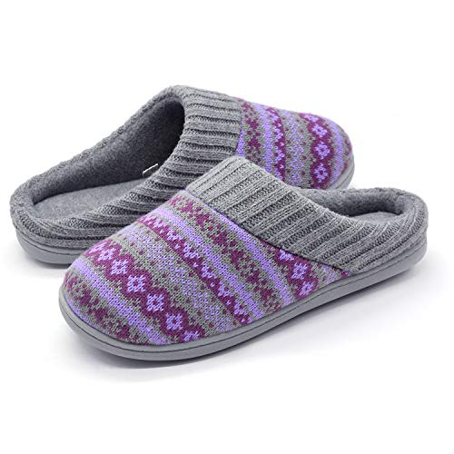 RockDove Sweater Knit Scuff Slippers for Women, Size 7-8 US Women, Periwinkle