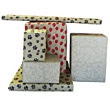 """Printed Kraft Paper / Wrapping Paper, 30"""" x 15' Rolls, Pack of 3, (Prints include dog paw print, balloons, white filigree)"""