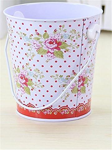 Kangkang@ Desktop to Receive Barrels Tin Bucket Bucket Recycling Bins Colorful Stripe Cylinder Lovely Colorful Stripe Metal Mini Drum Desk Organizer/office Furniture/10.510cm (Bucket Cylinder)