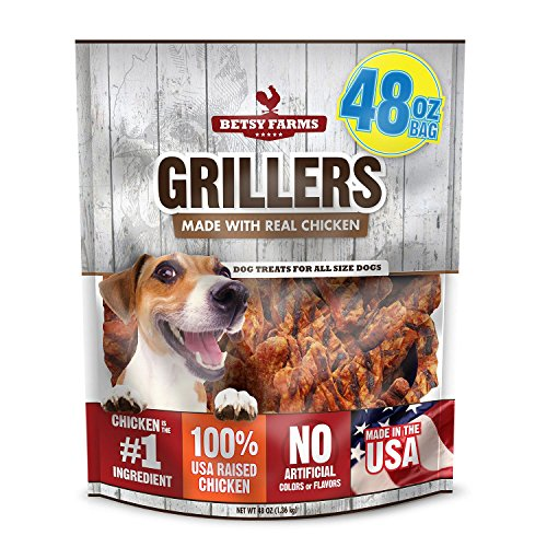 Betsy Farms 92200011048 Beef Chicken Grillers Dog Jerky Treats  48 Oz