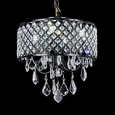 Broadway Black Classic Crystal Chandeliers Modern Lamps Pendant Light Ceiling Fixture BL-AJA/BK4 W14 X H14 Inch
