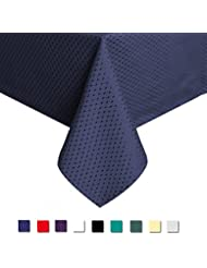 Eforcurtain Heavy Weight Classic Waffle Microfiber Table Cover Rectangle Tablecloth Stain Resistant/Spill-proof/Waterproof, Blue, 60-inch By 84-inch