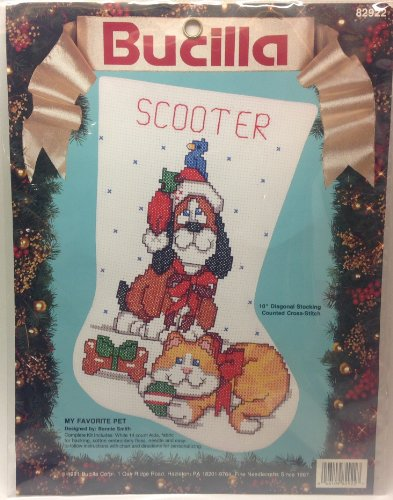Vintage 1991 Bucilla My Favorite Pet Counted Cross Stitch Kit - 10 Inch Christmas Holiday Stocking -82922
