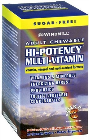 Adult Chewable Hi-Potency Multi-Vitamin Tablets, Sugar-free Raspberry, 60CT (PACK OF 2) by Windmill