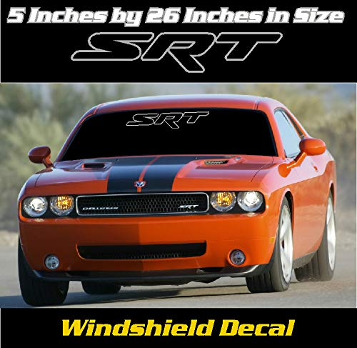 5 inch by 36 inch Dodge Charger//Challenger SRT Windshield Banner Decal Color Silver and Red