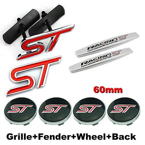 - 8pcs Sets AM79 ST Racing Front Grille + Fender Side Sticker + Wheel Hub Caps + Back Sticker Car Emblem Badge For Ford Focus 2 Focus 3 FIESTA F-150 Kuga FUSION ESCAPE EDGE