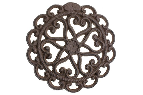 "Cast Iron Trivet | Round with Vintage - Pattern Decorative Cast Iron Trivet For Kitchen Or Dining Table - 6"" Diameter - With Rubber Pegs - Rust Brown Color - by Comfify CA-1504-08-BR"