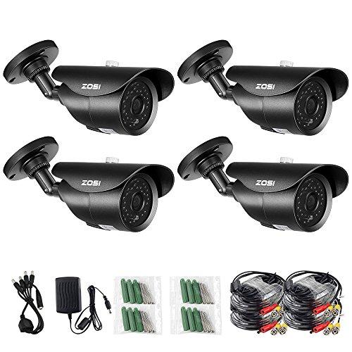 ZOSI 4 Pack 1000TVL 960H indoor outdoor Day Night Vision Weatherproof 42pcs IR Infrared Leds Security Cameras Kits-3.6mm lens, 120ft IR Distance, Aluminum Metal Housing