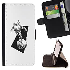 BullDog Case - FOR/Apple Iphone 6 PLUS 5.5 / - / SPACE SUIT MOON MONSTER TRAVEL ART PENCIL /- Monedero de cuero de la PU Llevar cubierta de la caja con el ID Credit Card Slots Flip funda de cuer
