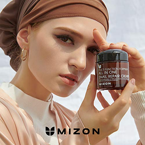 Korean Skin Care Set: Mizon's All in One Snail Repair Cream 2 Pack, Face Moisturizer with Snail Mucin Extract, Anti-wrinkles, Acne Scars and Dark Spots Treatment, 5.06 Oz (75ml x2)