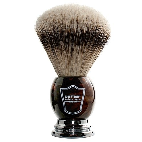 (Parker Safety Razor 100% Silvertip Badger Bristle Faux Horn Handle Shaving Brush - Brush Stand)