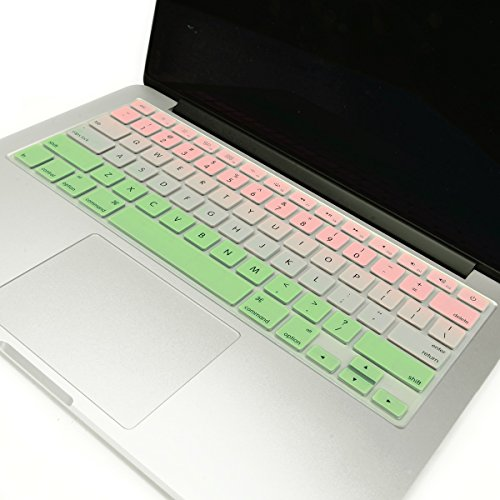 TOP CASE - Faded Ombre Series Keyboard Cover Skin Compatible with Macbook 13 Unibody/Old Generation Macbook Pro 13 15 17 /Macbook Air 13/Wireless Keyboard-Pink&Light Green