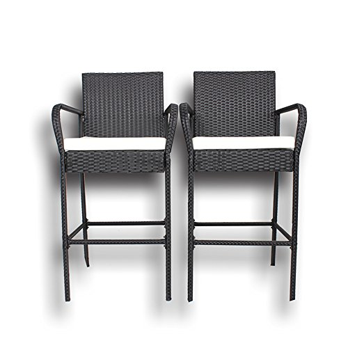 Outdoor Patio Furniture Rattan Black Wicker Cushioned Barstool Set(Beige Cushions,Set of 2