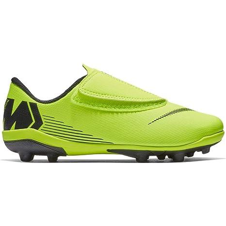 Nike Botas de Fútbol Mercurial Vapor Series Suela MG Amarillo/Negro Niño con Velcro