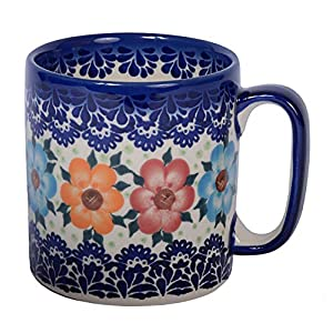 Boleslawiec Style, Traditional Polish Pottery, Handcrafted Ceramic Roller Mug (400 ml), Pattern, Q.201.BLUELACE