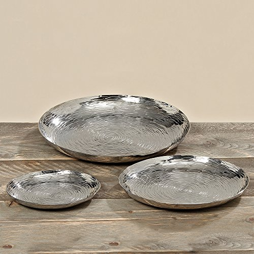 The Grand Hotel Silver Decorative Candle Plates, Set of 3, Hand Cast Aluminum, Reflective Rounds, Textural Etched Lines, 13, 10, 7 Inches in Diameter, By Whole House Worlds (Tray Round Silver Large)