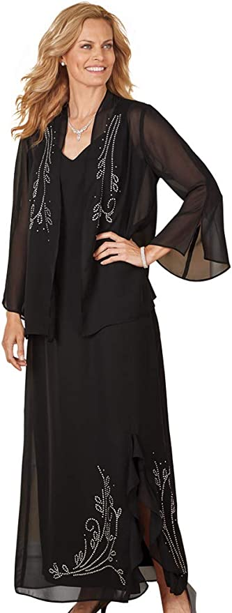 1920s Evening Dresses & Formal Gowns AmeriMarkWomens Beaded 2-Piece Evening Gown Long Dress Bell Slit Sleeve Jacket $55.97 AT vintagedancer.com