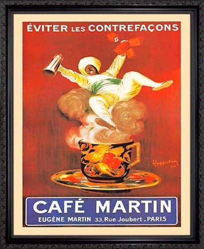 Cafe Leonetto Cappiello - EuroGraphics Eugene Cafe Coffee Martin Paris by Leonetto Cappiello Framed Vintage Advertising Reproduction Print Poster Custom Made Real Wood Dark Mahogany with Black Trim (18 1/8 x 22 1/8)