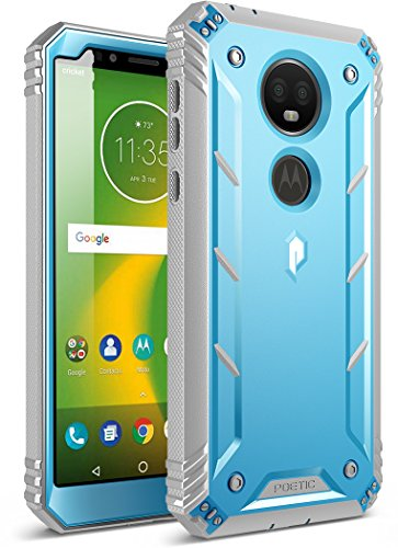 Moto E5 Plus Rugged Case, Poetic Revolution [360 Degree Protection] Full-Body Rugged Heavy Duty Case with Built-in-Screen Protector for Motorola Moto E5 Plus Blue