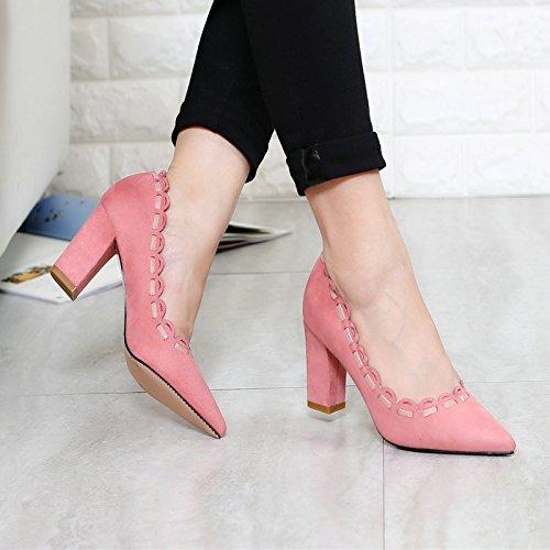 Une Ondée KHSKX Thirty five Chaussures De Rude Daim En Talons De Rose Petites Avec Dentelle qTA0wB8rT