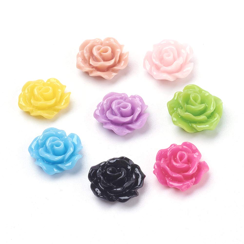 Craftdady 500Pcs Random Mixed Colors Flat Back Opaque Resin Flower Cabochons 13x5mm DIY Scrapbooking Embellishments Craft Jewelry Making Findings