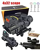 Ledsniper®2in1 Brand Sniper Tactical Rifle Scope 4x32 Horseshoe Reticle with Quick Relese + Mini Reflex Red Dot Sight