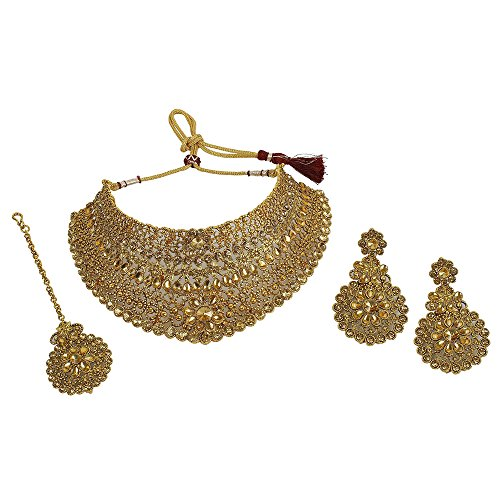 MUCH-MORE Indian Awesome Traditional Necklaces Earrings With Maang Tikka Jewelry for Women B (LCT)