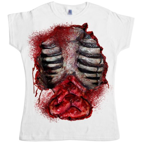[Womens Zombie Open Chest T Shirt - White - Small (8-10)] (Zombie Michael Jackson Costumes)