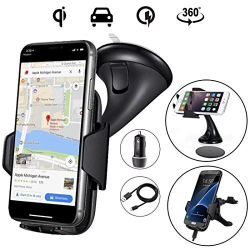 Wireless Car Charger - Zale 10W Wireless Charger Car Mount, Air Vent Phone Holder, QC3.0 Fast Charging Adapter Included, for iPhone X/8/8 Plus|Samsung Galaxy S9/8/7/Note 8 and All QI-Enabled Devices by ZALE