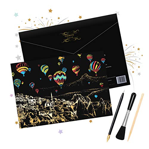 (HOMEWINS Scratch Art Paper DIY Scratch Board for Adult and Kids Scratch Postcard Magic Colorful Drawing Board Painting Graffiti Children Creative Gifts3042cm (Hot Air Balloon))