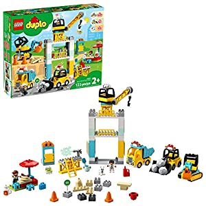 LEGO DUPLO Construction Tower Crane & Construction 10933 Exclusive Creative Building Playset with Toy Vehicles; Build…