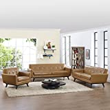 Modern Urban Contemporary 3 pcs Leather Living Room Set, Tan Leather
