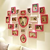 ZGP Home@Wall photo frame Solid Wood Living Room Wedding Photo Wall Love Heart Shaped Modern Children Bedroom Photo Wall Photo Frame (Color : A)