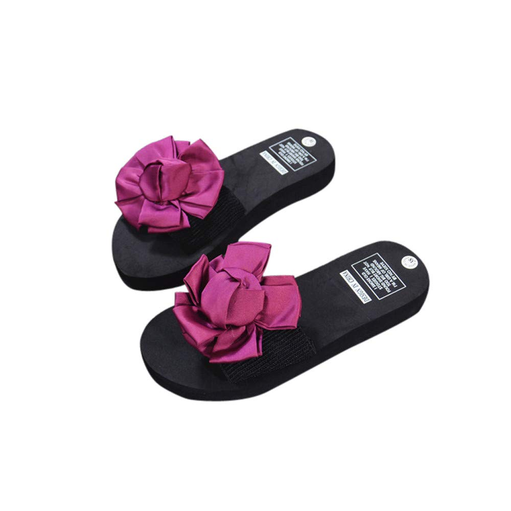 Nevera Womens Platform Wedges Sandals Slipper Ladies Peep-Toe Platform Beach Shoes Red